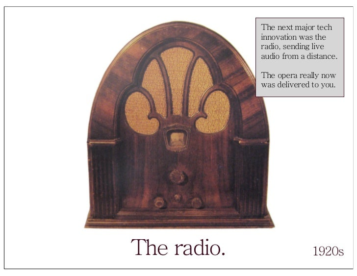 The next major tech              innovation was the              radio, sending live              audio from a distance.  ...