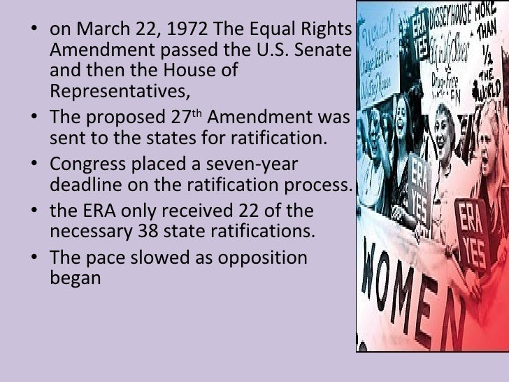 the equal rights amendment essay The equal rights amendment essays the equal rights amendment equality of rights under the law shall not be denied or abridged by the united states or by any state on account of sex in 1923, this statement was admitted to congress under the equal rights amendment (era.