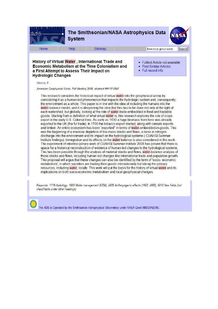 History of virtual water , hydro metabolism