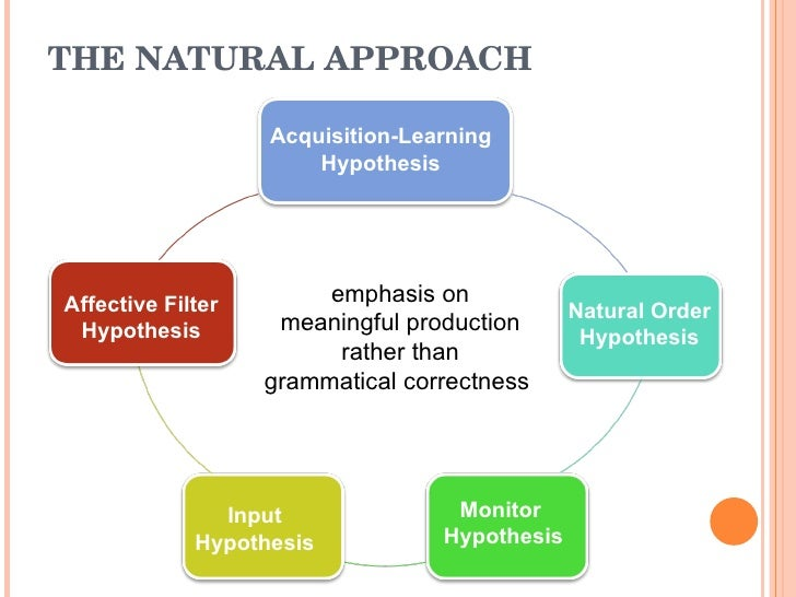 the natural approach and the input The natural order hypothesis states that the acquisition of grammatical  since  the cognitive-code approach provides more comprehensible input than.