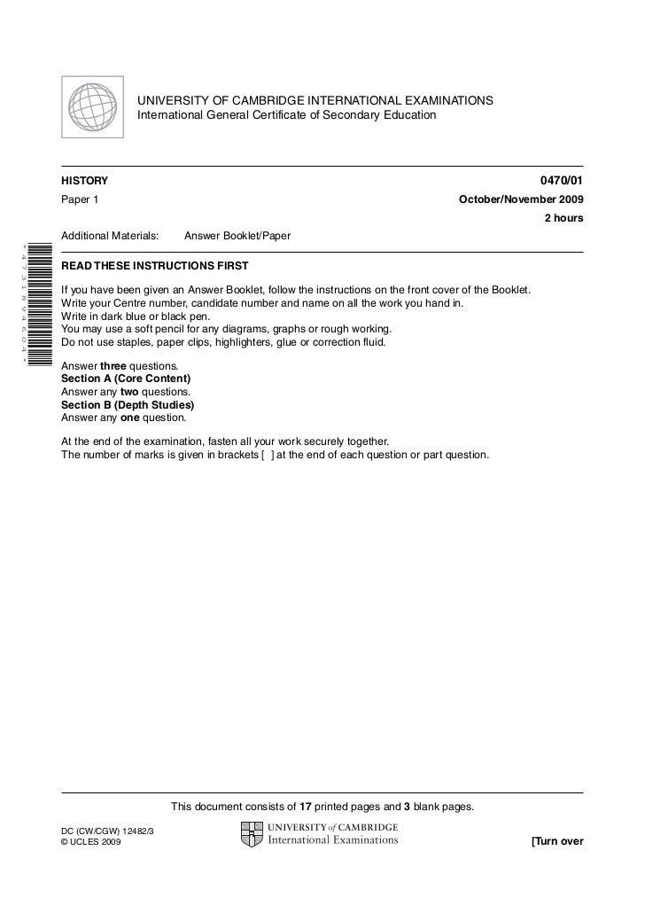 UNIVERSITY OF CAMBRIDGE INTERNATIONAL EXAMINATIONS                               International General Certificate of Seco...