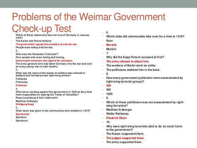 the issues of the weimar republic Economic conditions, the lack of democratic traditions, and the lack of an army/police force the economy was always unstable during the weimar republic.