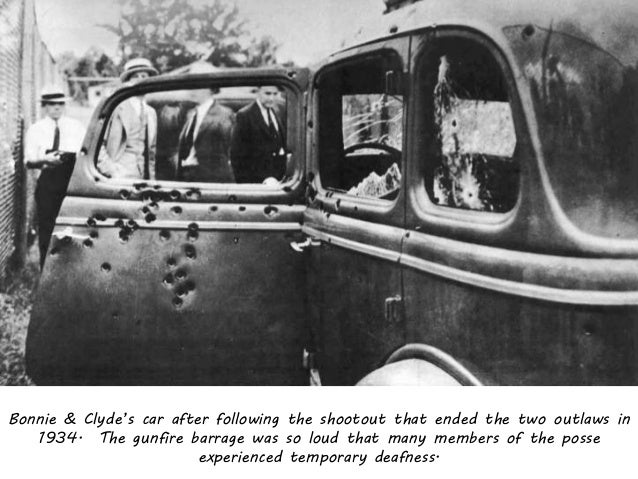 Bonnie & Clyde's car after following the shootout that ended the two outlaws in 1934. The gunfire barrage was so loud that...