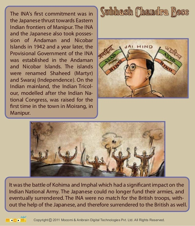 The INA's rst commitment was in  the Japanese thrust towards Eastern  Indian frontiers of Manipur. The INA  and the Japane...