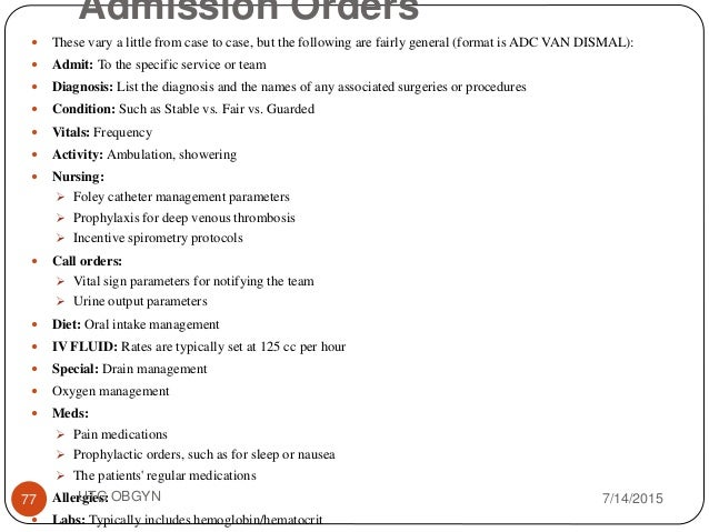 Writing admission orders example