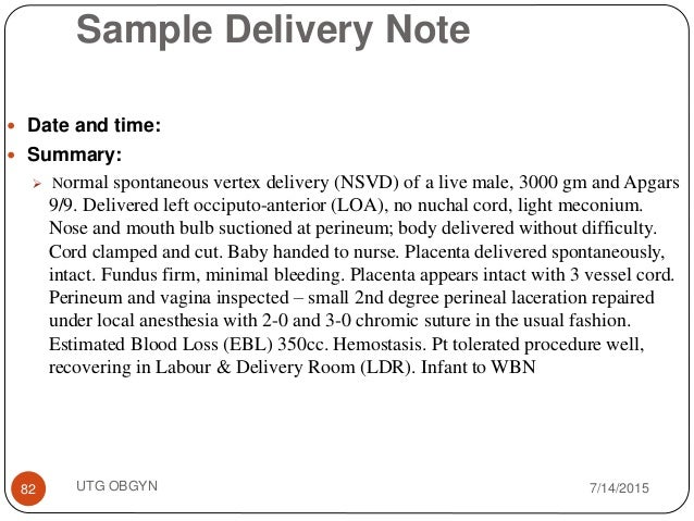 Sample Delivery Note .