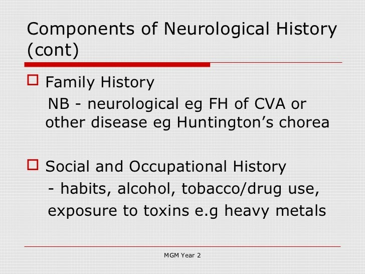History taking in neurology 2012