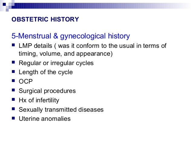 History taking in obgyn
