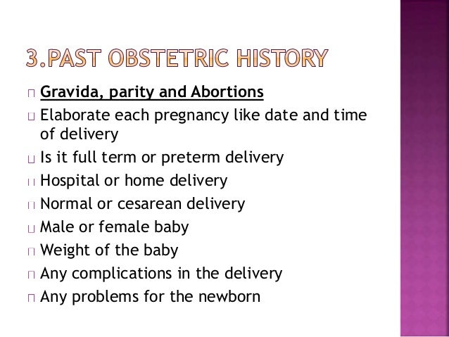History Taking In Obstetrics Amp Gynecology