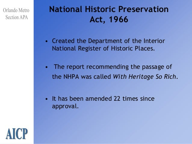 10 National Historic Preservation Act 1966o