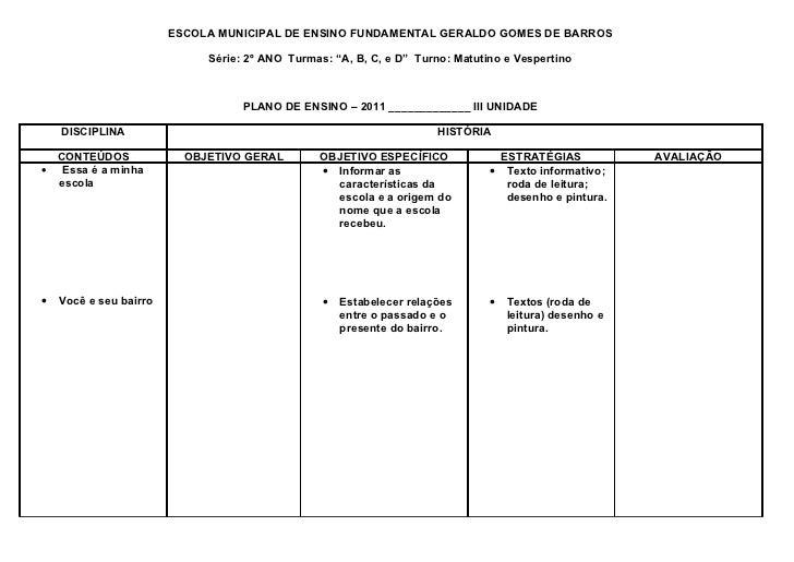 """ESCOLA MUNICIPAL DE ENSINO FUNDAMENTAL GERALDO GOMES DE BARROS                             Série: 2º ANO Turmas: """"A, B, C,..."""