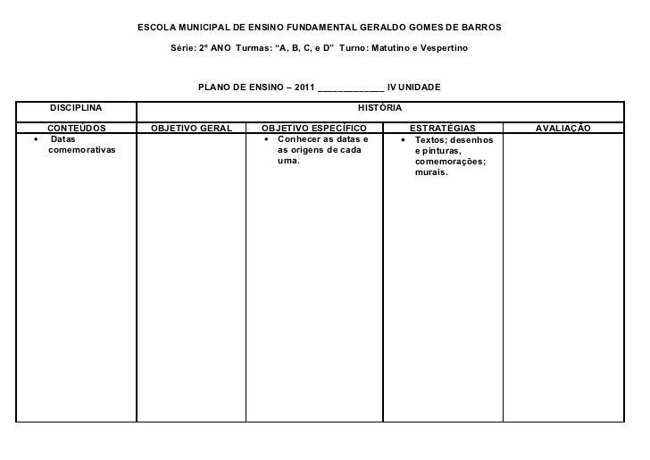 """ESCOLA MUNICIPAL DE ENSINO FUNDAMENTAL GERALDO GOMES DE BARROS                       Série: 2º ANO Turmas: """"A, B, C, e D"""" ..."""