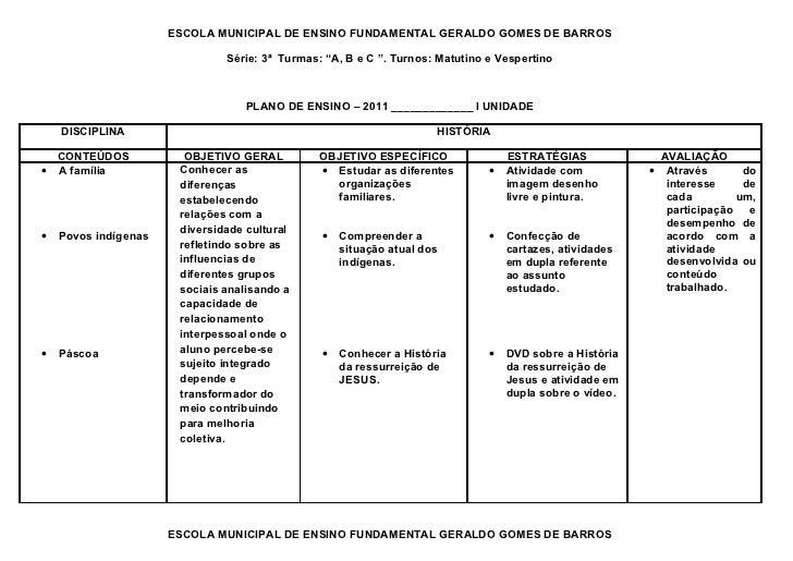 """ESCOLA MUNICIPAL DE ENSINO FUNDAMENTAL GERALDO GOMES DE BARROS                               Série: 3ª Turmas: """"A, B e C """"..."""