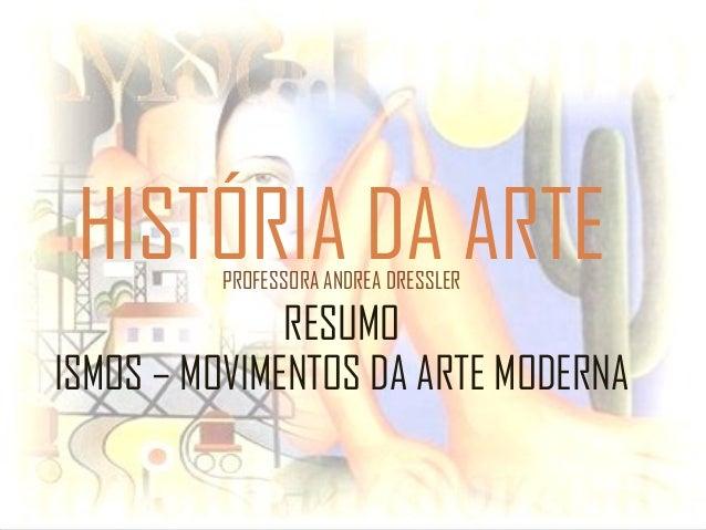 HISTÓRIA DA ARTEPROFESSORA ANDREA DRESSLER RESUMO ISMOS – MOVIMENTOS DA ARTE MODERNA