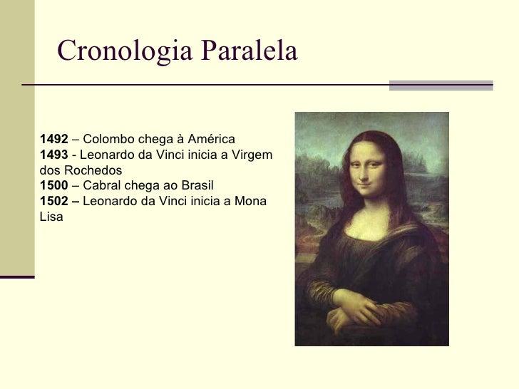 Cronologia Paralela1492 – Colombo chega à América1493 - Leonardo da Vinci inicia a Virgemdos Rochedos1500 – Cabral chega a...