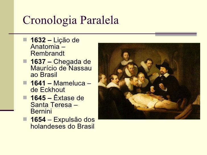 Cronologia Paralela 1632 – Lição de    Anatomia –    Rembrandt   1637 – Chegada de    Maurício de Nassau    ao Brasil  ...