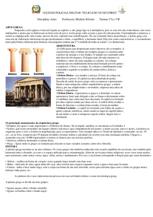"""COLÉGIO POLICIAL MILITAR """"FELICIANO NUNES PIRES""""  Disciplina: Artes Professora: Michele Silveira Turmas:1ºA e B  ARTE GREG..."""
