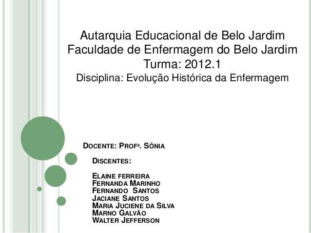 DOCENTE: PROFª. SÔNIA DISCENTES: ELAINE FERREIRA FERNANDA MARINHO FERNANDO SANTOS JACIANE SANTOS MARIA JUCIENE DA SILVA MA...