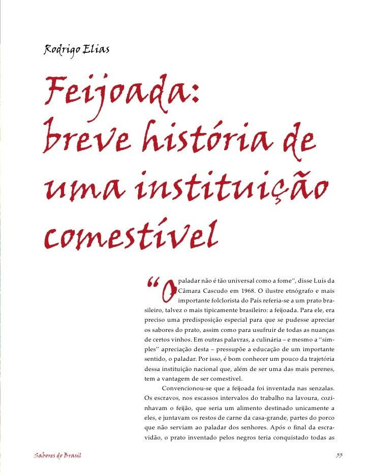 """Rodrigo Elias       Feijoada:    breve história de    uma instituição    comestível                     """"O                ..."""