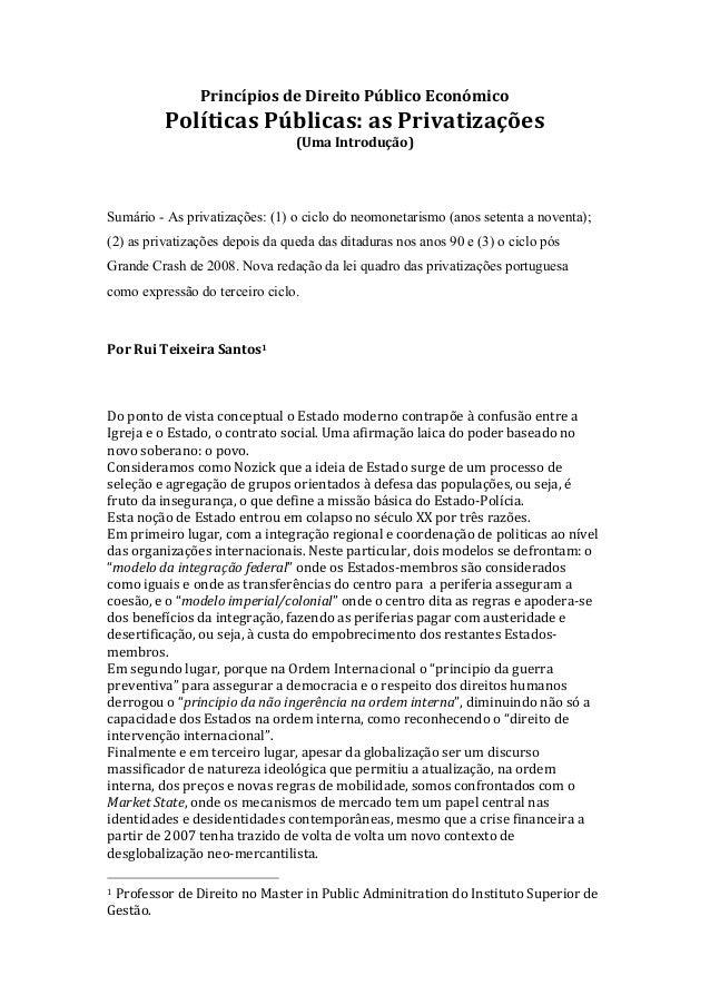 Princípios  de  Direito  Público  Económico    Políticas  Públicas:  as  Privatizações   (Uma  Introdu...