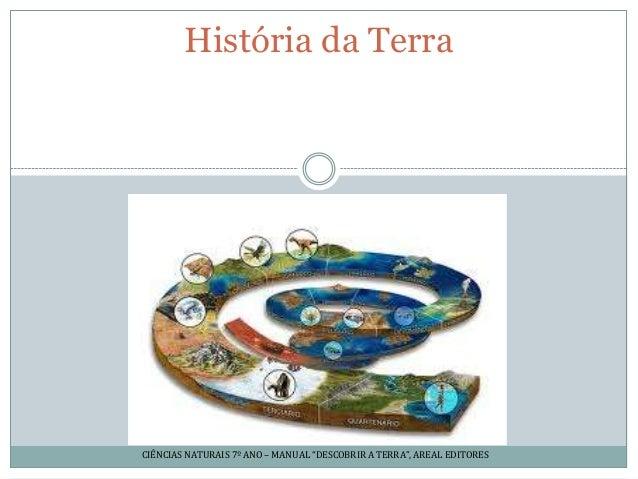 """História da TerraCIÊNCIAS NATURAIS 7º ANO – MANUAL """"DESCOBRIR A TERRA"""", AREAL EDITORES"""