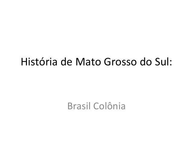 História de Mato Grosso do Sul:         Brasil Colônia