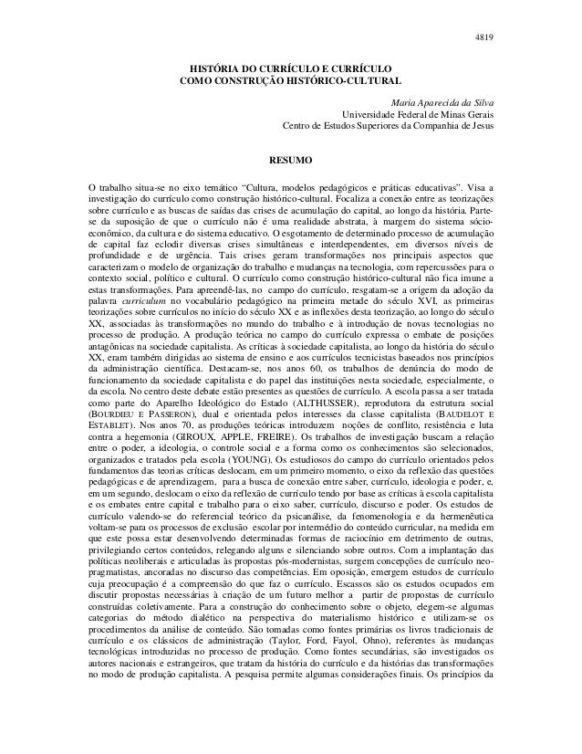 4819                        HISTÓRIA DO CURRÍCULO E CURRÍCULO                       COMO CONSTRUÇÃO HISTÓRICO-CULTURAL    ...