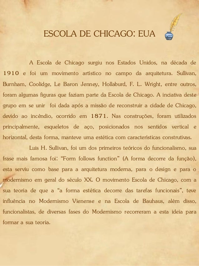 ESCOLA DE CHICAGO: EUA A Escola de Chicago surgiu nos Estados Unidos, na década de 1910 e foi um movimento artístico no ca...