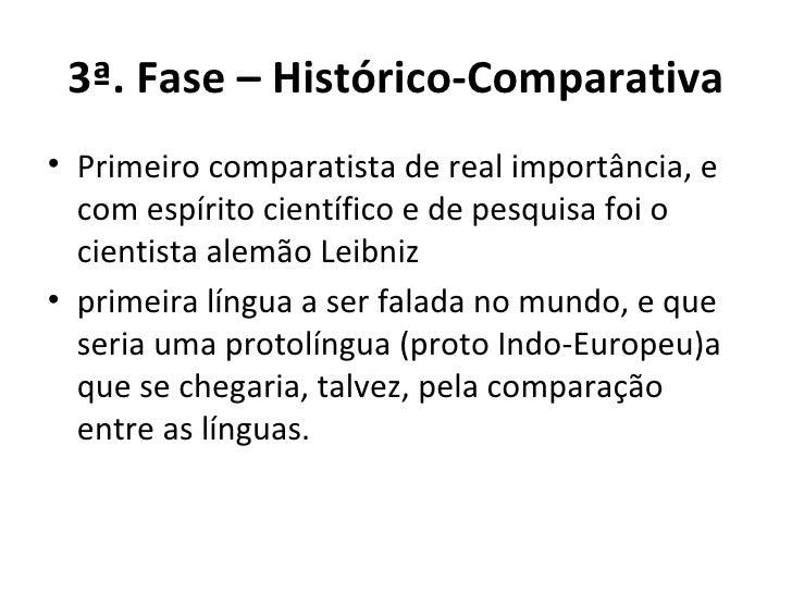 3ª. Fase – Histórico-Comparativa <ul><li>Primeiro comparatista de real importância, e com espírito científico e de pesquis...