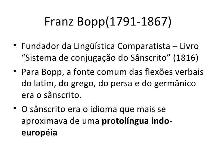 """Franz Bopp(1791-1867)  <ul><li>Fundador da Lingüística Comparatista – Livro """"Sistema de conjugação do Sânscrito"""" (1816) </..."""