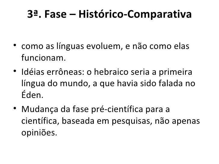 3ª. Fase – Histórico-Comparativa <ul><li>como as línguas evoluem, e não como elas funcionam. </li></ul><ul><li>Idéias errô...