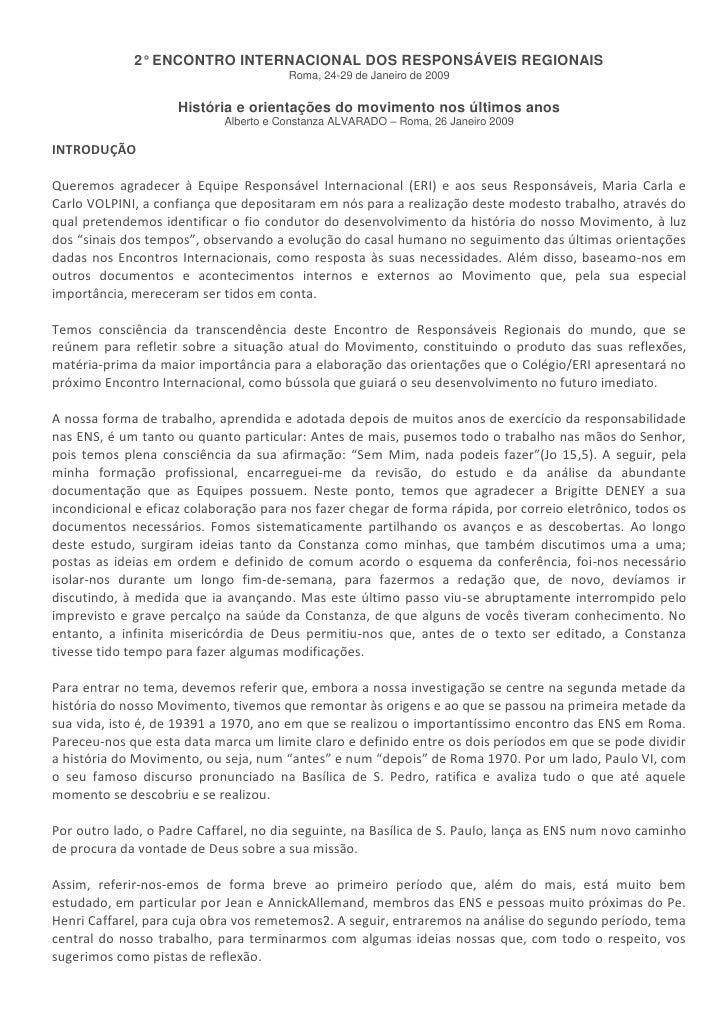 2° ENCONTRO INTERNACIONAL DOS RESPONSÁVEIS REGIONAIS                                       Roma, 24-29 de Janeiro de 2009 ...