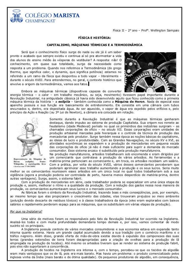 Física II – 2° ano – Prof°. Wellington Sampaio                                              FÍSICA E HISTÓRIA:            ...
