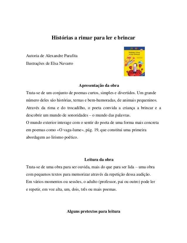 LERapartirdos6anos  GUI A D E L E ITURA MARIA ALZIRA CABRAL  Histórias a rimar para ler e brincar Autoria de Alexandre Par...
