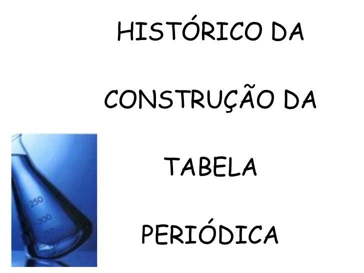 HISTÓRICO DA CONSTRUÇÃO DA TABELA PERIÓDICA