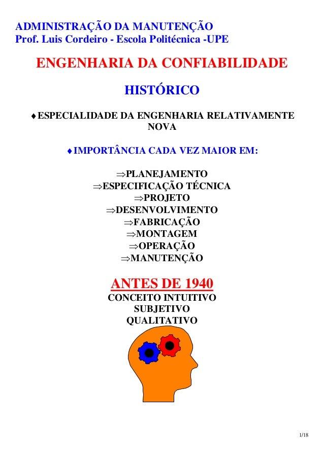ADMINISTRAÇÃO DA MANUTENÇÃO Prof. Luis Cordeiro - Escola Politécnica -UPE 1/18 ENGENHARIA DA CONFIABILIDADE HISTÓRICO ♦ESP...