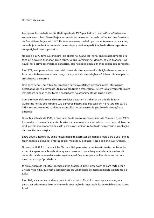 Histórico da Natura A empresa foi fundada no dia 28 de agosto de 1969 por Antonio Luiz da Cunha Seabra em sociedade com Je...