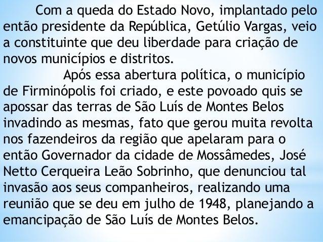 História de São Luis de Montes Belos - GOIÁS Slide 2