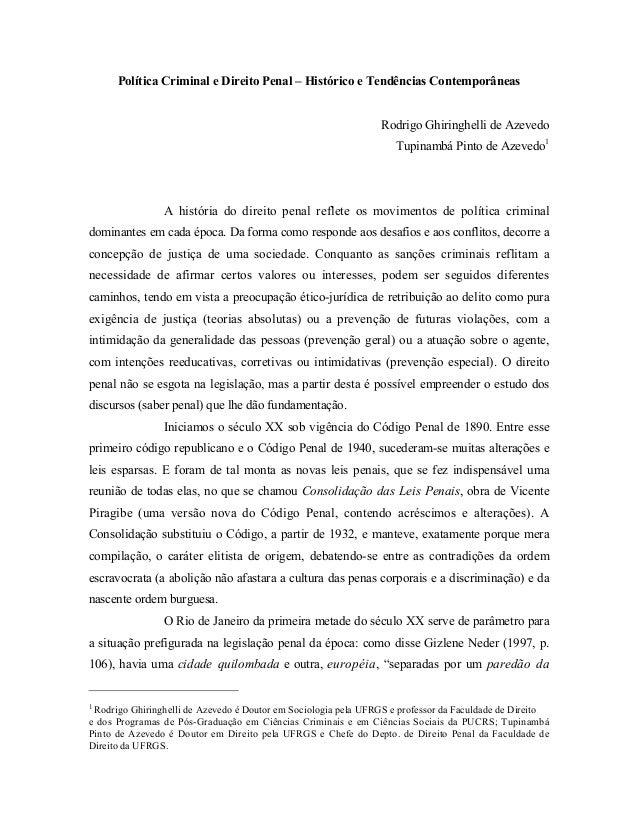Política Criminal e Direito Penal – Histórico e Tendências Contemporâneas                                                 ...