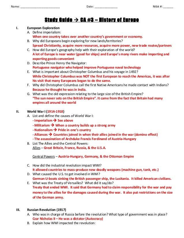 history of europe study guide key rh slideshare net ap european history chapter 27 study guide answers ap european history chapter 19 study guide answers