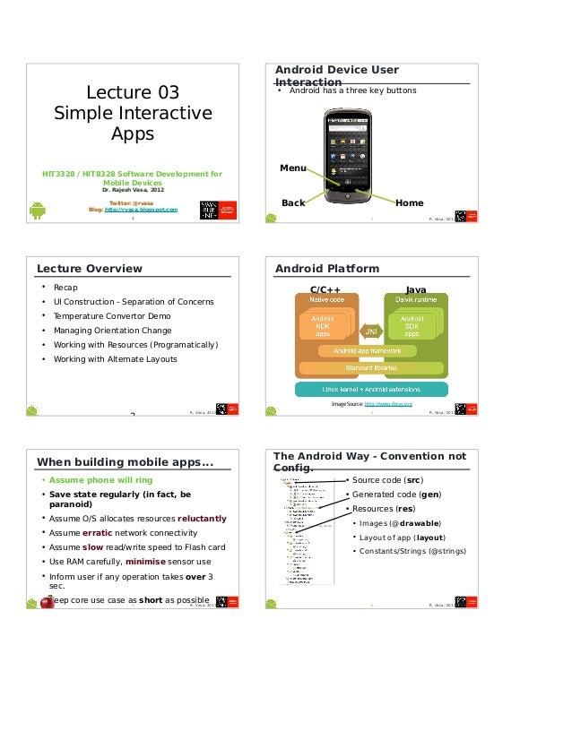 HIT3328 / HIT8328 Software Development forMobile DevicesDr. Rajesh Vasa, 2012Twitter: @rvasaBlog: http://rvasa.blogspot.co...