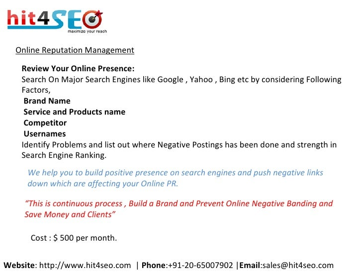 Online Reputation Management Review Your Online Presence: Search On Major Search Engines like Google , Yahoo , Bing etc by...