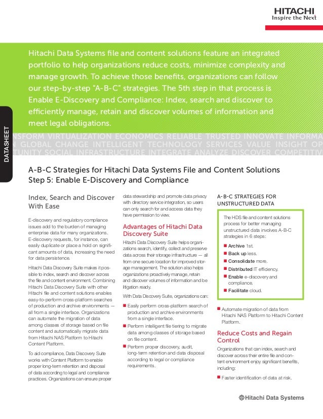 Hitachi Data Systems file and content solutions feature an integratedportfolio to help organizations reduce costs, minimiz...