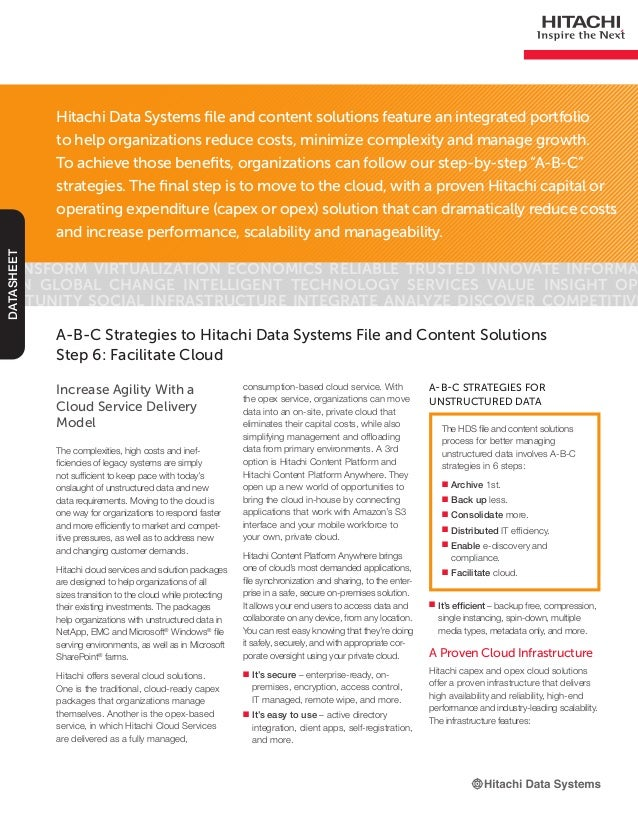 Hitachi Data Systems file and content solutions feature an integrated portfolioto help organizations reduce costs, minimiz...