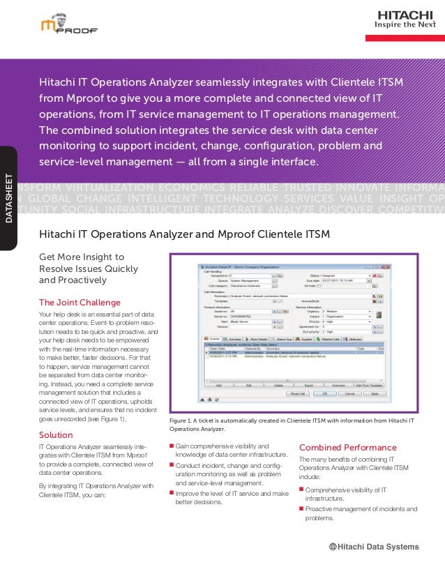 Hitachi IT Operations Analyzer seamlessly integrates with Clientele ITSMfrom Mproof to give you a more complete and connec...