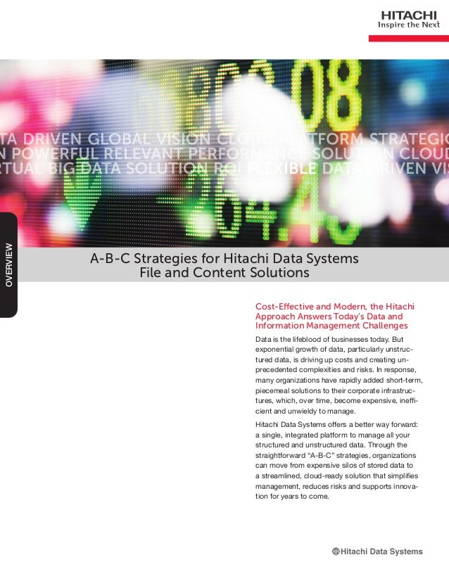 A-B-C Strategies for Hitachi Data SystemsFile and Content SolutionsCost-Effective and Modern, the HitachiApproach Answers ...