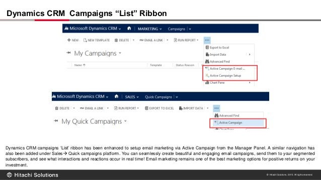 © Hitachi Solutions. 2015. All rights reserved. Dynamics CRM campaigns 'List' ribbon has been enhanced to setup email mark...