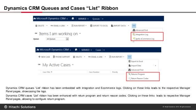 © Hitachi Solutions. 2015. All rights reserved. Dynamics CRM queues 'List' ribbon has been embedded with integration and E...
