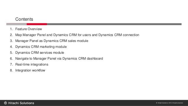 © Hitachi Solutions. 2015. All rights reserved. Contents 1. Feature Overview 2. Map Manager Panel and Dynamics CRM for use...