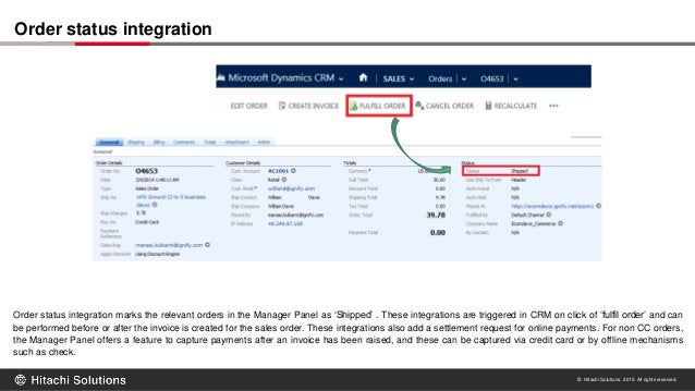 © Hitachi Solutions. 2015. All rights reserved. Order status integration marks the relevant orders in the Manager Panel as...